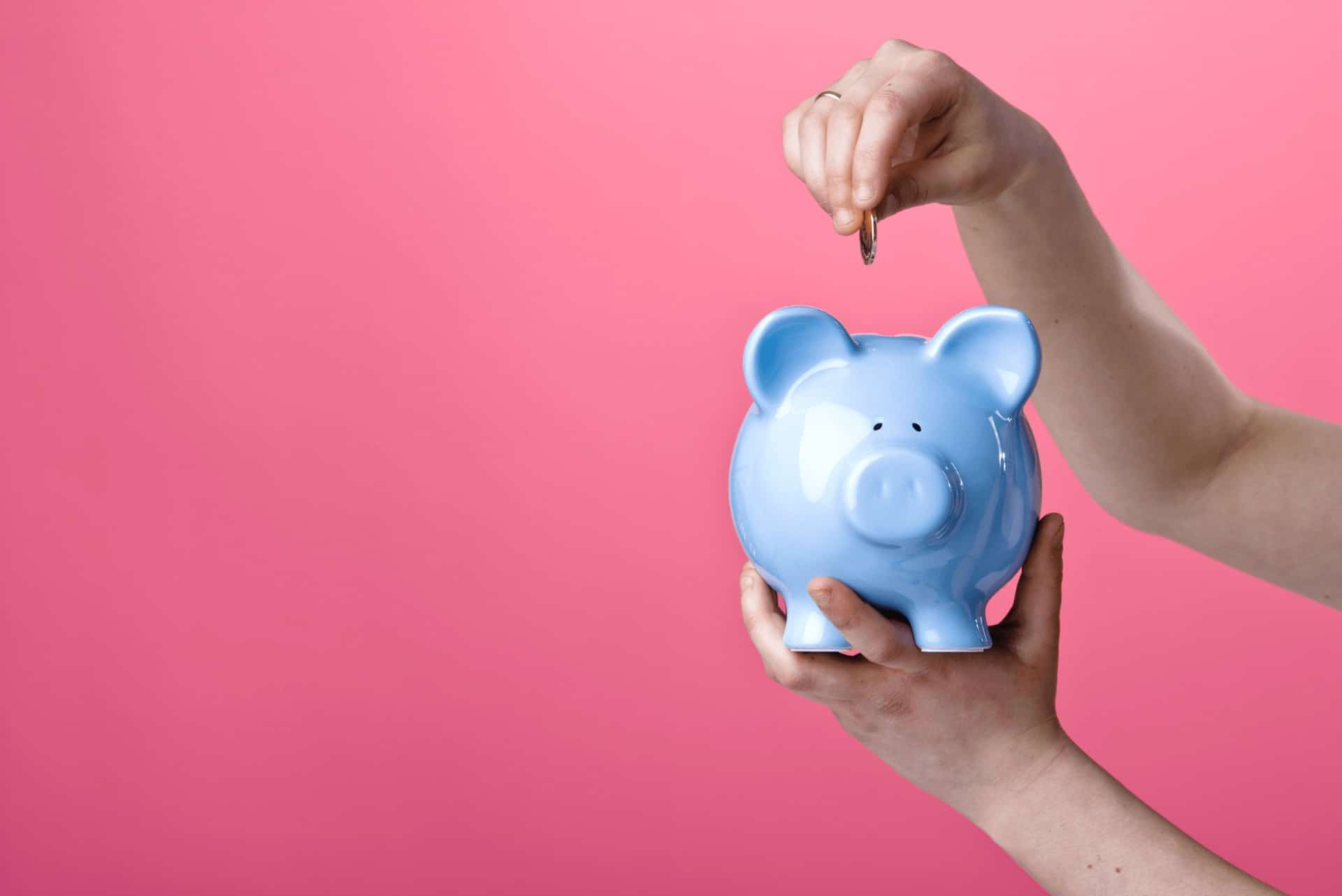 Retirement income planning - blue piggy bank saving