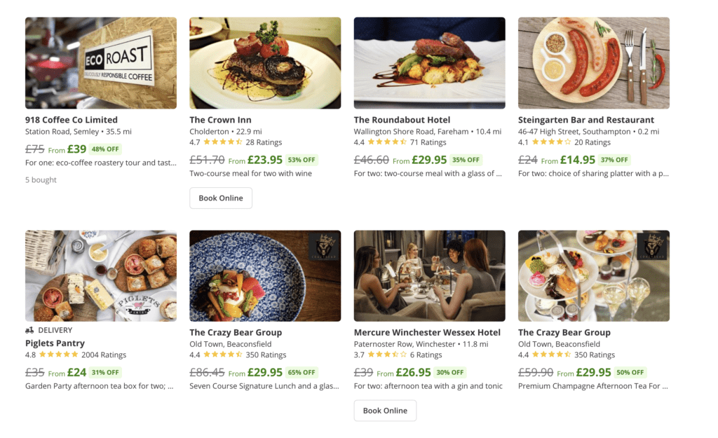 Groupon dining discounts | local discounts for eating out ranging between 20% and 65% off
