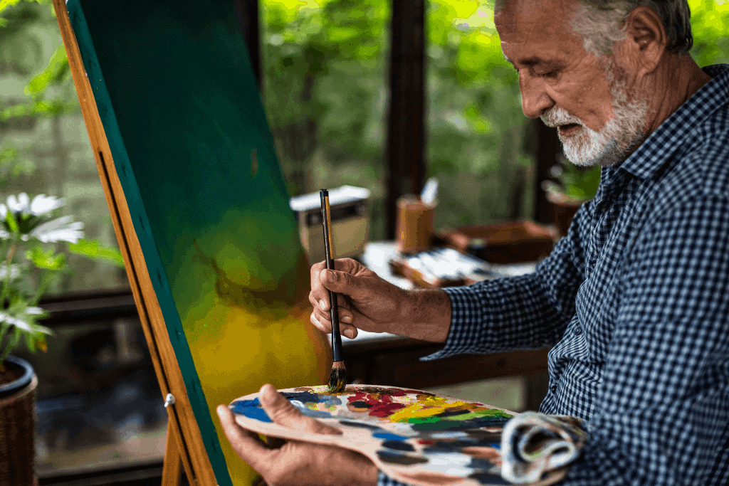 happiness in retirement - painting hobby
