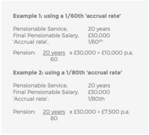 accrual rate example final salary pension