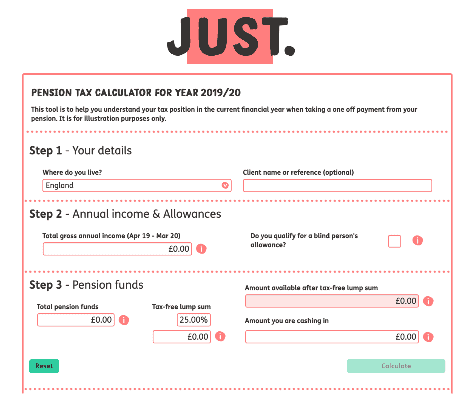 Just Financial Pension Lump Sum Tax Calculator