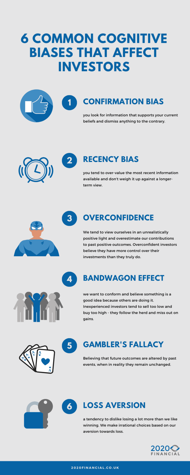 6 common types of cognitive bias for pension investors infographic