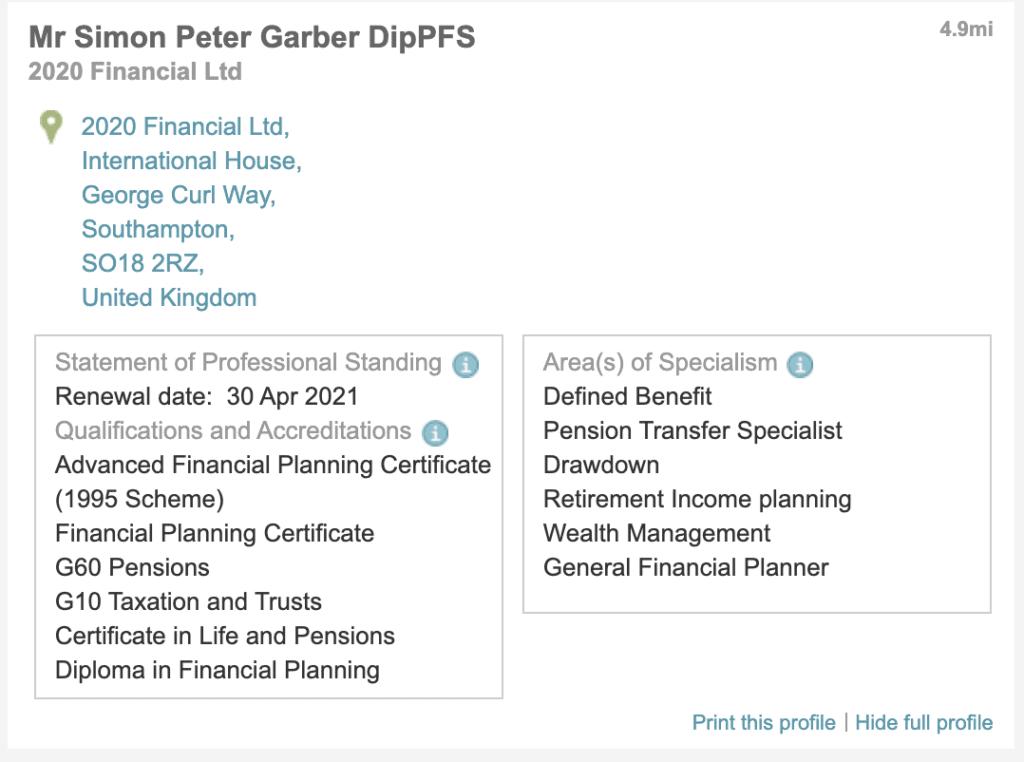 Simon Garber Listed on PFS website for authorised Financial advisors